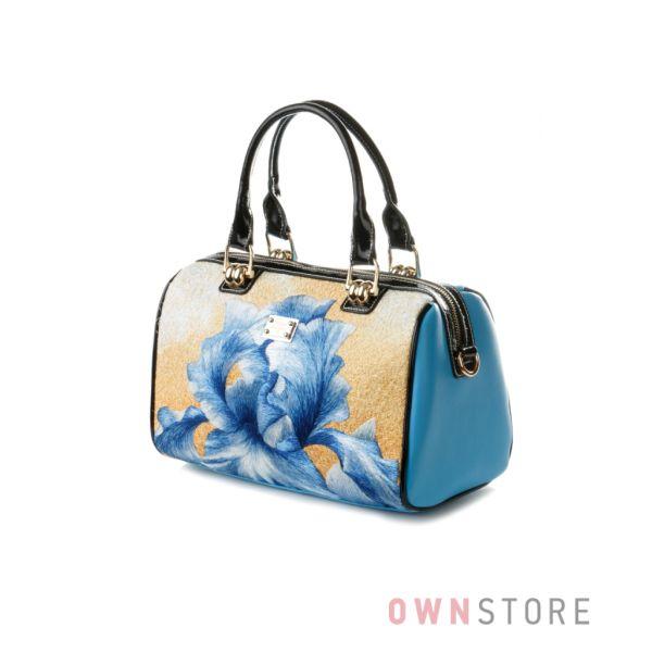 """Купить сумку - саквояж женскую голубую с вышивкой """"Ирис"""" Велина Фабиано"""