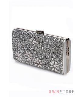 Купить клатч женский серебряный с россыпью камней онлайн - арт.0235