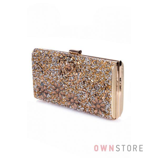 Купить клатч женский золотой с россыпью камней онлайн - арт.0235