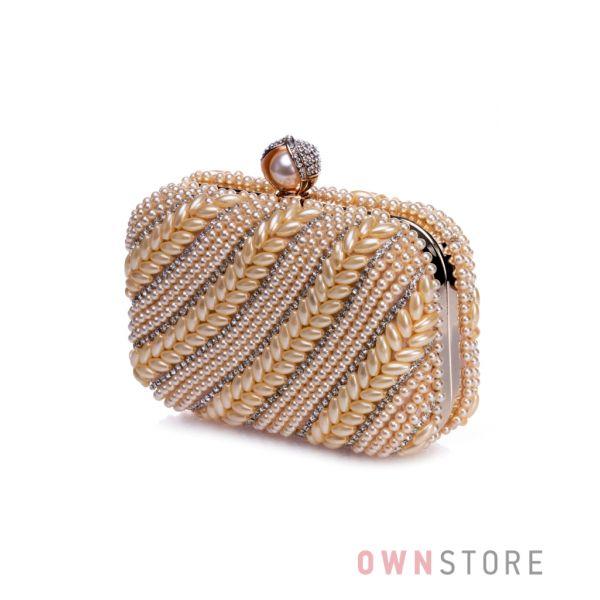Купить клатч женский Rosa Heart с жемчугом и стразами золотой онлайн - арт.031042
