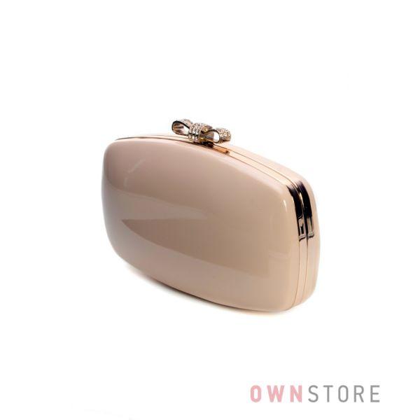 Купить клатч женский лаковый овальный пудровый от Rose Heart  - арт.09825