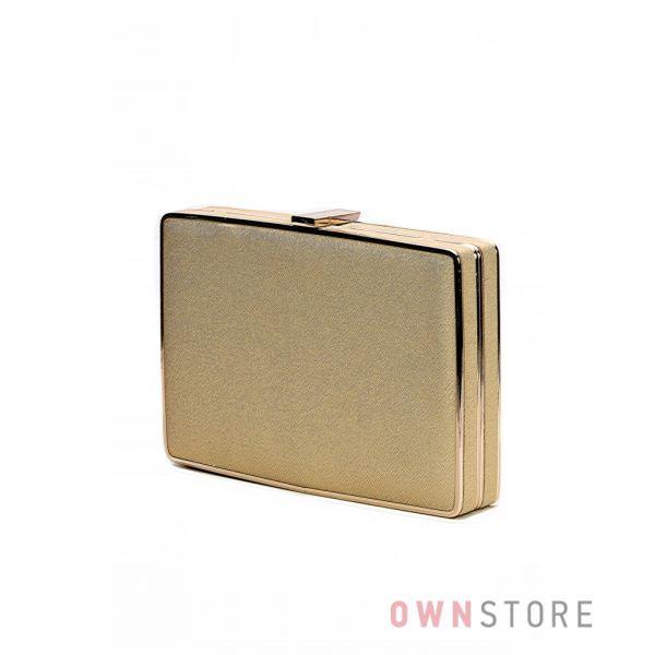 Купить недорого клатч-коробку женский золотой парчовый - арт.4075