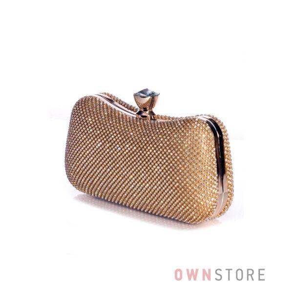 Купить клатч женский изогнутый золотой со стразами онлайн - арт.4489