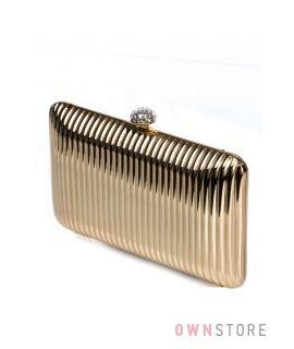 Купить онлайн золотой женский клатч со стразами на застежке  - арт.8198