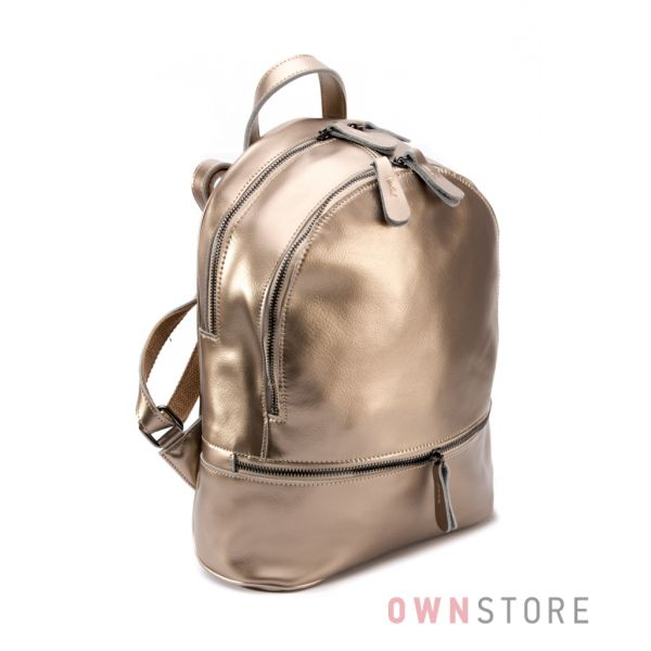 Купить рюкзак женский из кожи на два отделения золотой от Фарфалла Россо  - арт.0523
