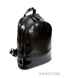 Рюкзак из кожи на два отделения черный (арт.0523)