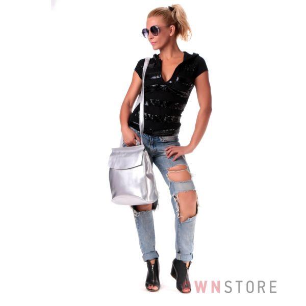 Купить рюкзак женский кожаный Фарфалла Россо с клапаном серебро - арт.1608
