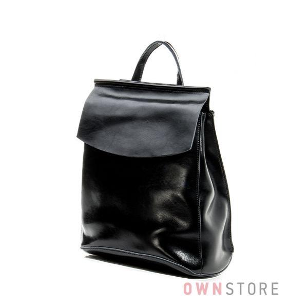 Купить рюкзак женский кожаный с клапаном черный от Фарфала Россо - арт.1608