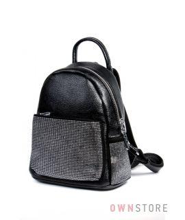 Купить небольшой женский  рюкзак со стразами на карманах от Velina Fabbiano - арт.571118-10