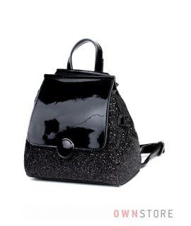 Купить рюкзак женский с кожаным клапаном инкрустированный блестками Велина Фабиано - арт. 571192-20