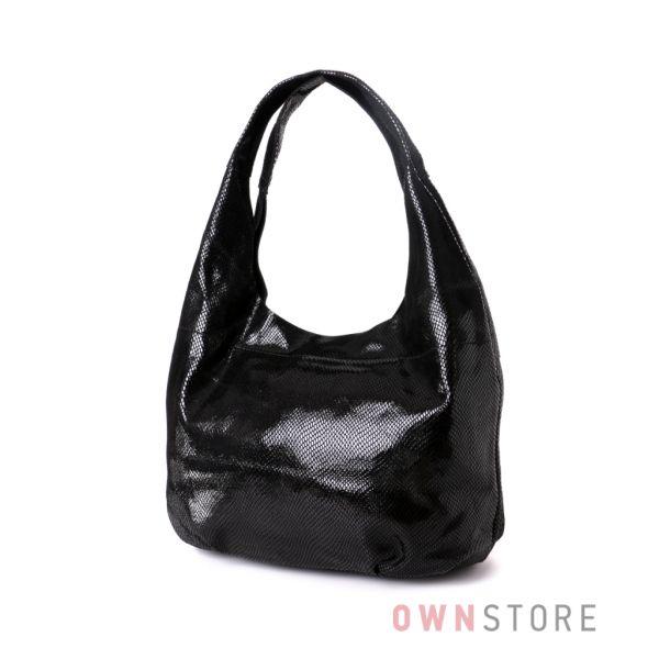 Купить сумку женскую черную мешок из лазера  - арт.3632-1