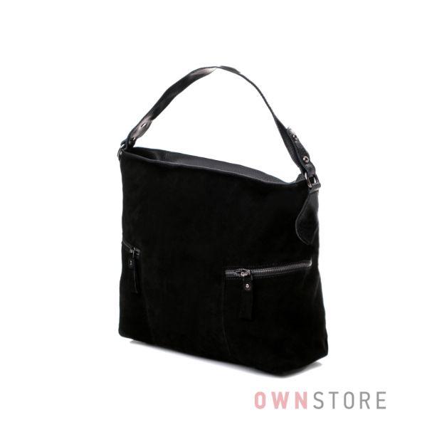 Купить сумку женскую замшевую с двумя боковыми карманами черную онлайн - арт.516