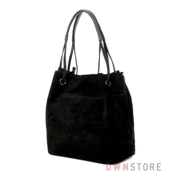 Купить большую черную женскую сумку-мешок из натуральной замши онлайн - арт.520
