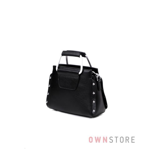 Купить маленькую женскую сумочку из натуральной кожи на двух ручках черную - арт.6093