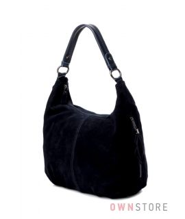 Купить женскую сумку-мешок синюю из двусторонней замши - арт.7088-1