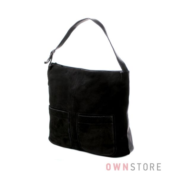 Купить сумку женскую замшевую с накладными карманами черную - арт.7128