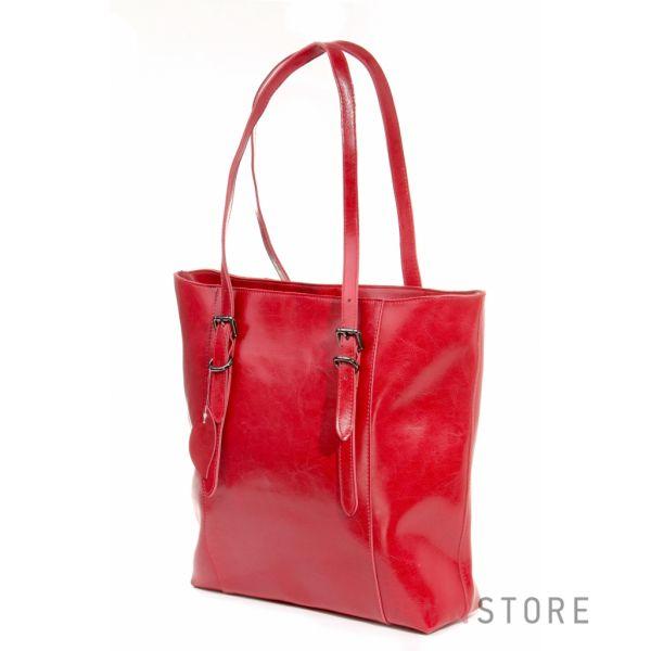 Купить женскую большую кожаную сумку с длинными ручками красную - арт.1920
