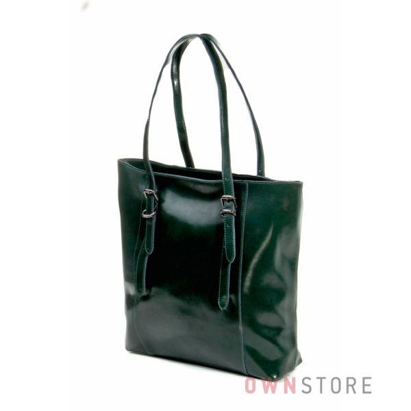 Купить сумку большую женскую из натуральной кожи с длинными ручками зеленую от Фарфалла Россо - арт.1920