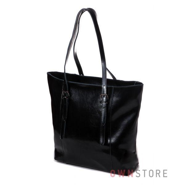 Купить сумку большую женскую из натуральной кожи с длинными ручками черную от Фарфалла Россо - арт.1920