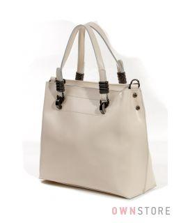 Купить небольшую  кожаную бежевую женскую сумку от Фарфалла Россо - арт.1985