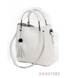 Кожаная белая сумка с двумя парами ручек (арт.6687)
