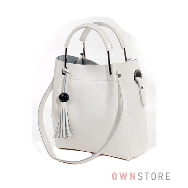 Купить кожаную белую женскую сумку с двумя парами ручек от Фарфалла Россо - арт.6687