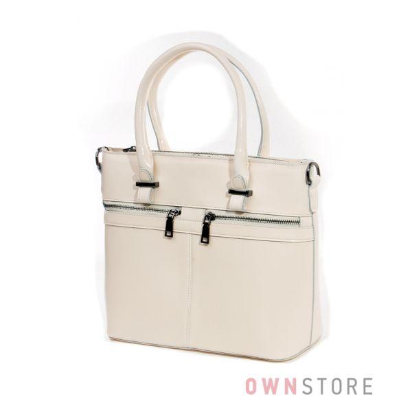 Купить сумку кожаную женскую бежевую от Farfalla Rosso с двумя карманами впереди - арт.6690