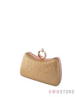 Купить женский клатч  онлайн парчовый золотой с чешуйками изогнутый - арт.09819