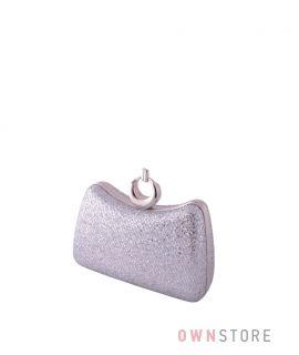 Купить женский клатч онлайн парчовый серебряный с чешуйками изогнутый - арт.09819