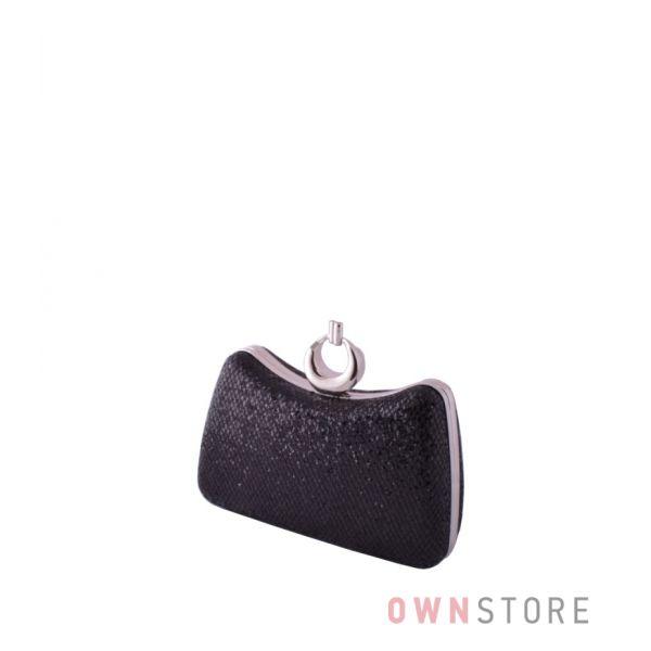Купить онлайн клатч женский парчовый черный с чешуйками изогнутый - арт.09819