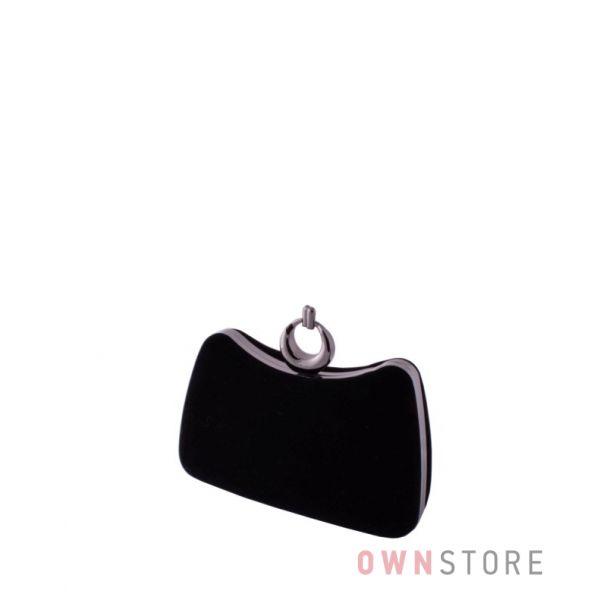 Купить женский клатч онлайн черный замшевый изогнутый - арт.09819
