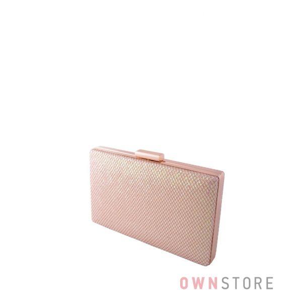 Купить клатч кремовый парчовый с чешуйками плоский онлайн - арт.09837