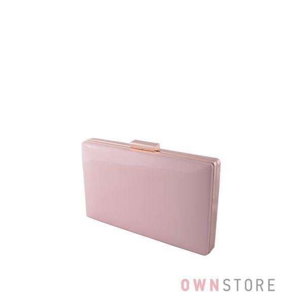 Купить клатч пудровый лаковый плоский с золотой фурнитурой онлайн  - арт.09837
