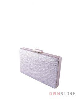 Купить клатч женский серебряный парчовый с чешуйками плоский онлайн - арт.09837