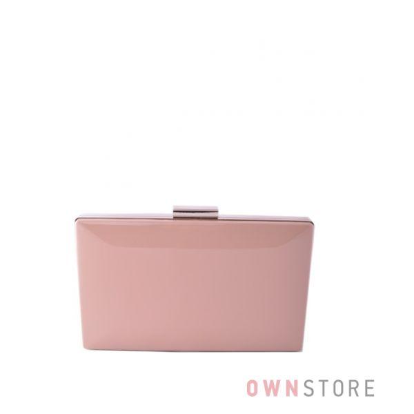 Купить онлайн клатч женский бежевый  лаковый плоский с серебряной фурнитурой - арт.09837
