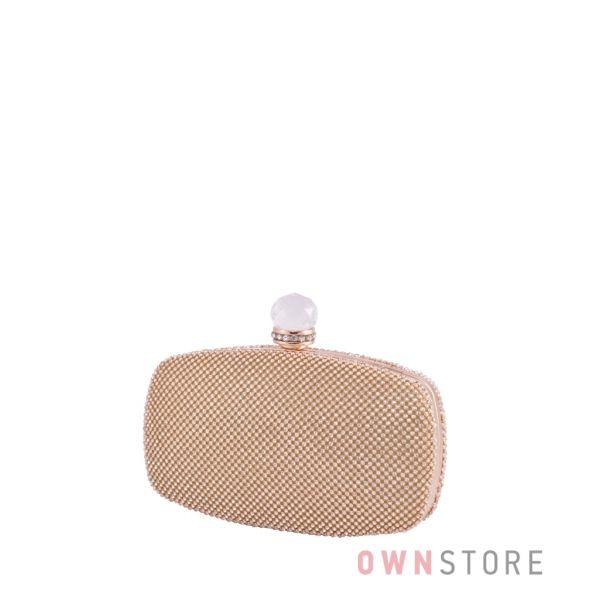 Купить онлайн клатч женский золотой с большим камнем - арт.099