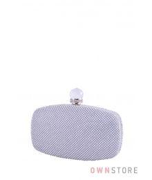 Клатч серебряный с большим камнем(арт.099)