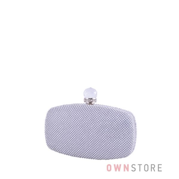 Купить клатч женский серебряный с большим камнем - арт.099