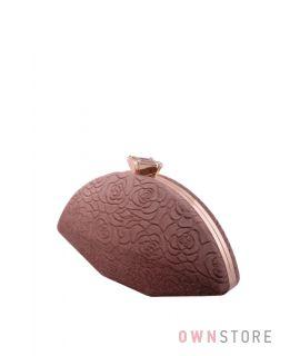 Купить онлайн коричневый женский клатч из замши с набивными цветами - арт.10030