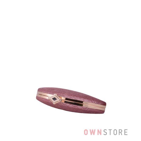 Купить онлайн женский розовый замшевый клатч с набивными цветами - арт.10030