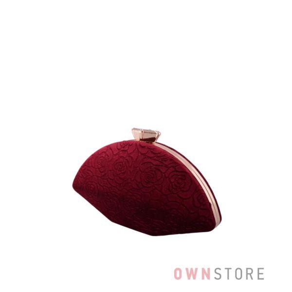 Купить онлайн клатч бордовый женский замшевый с набивными цветами - арт.10030