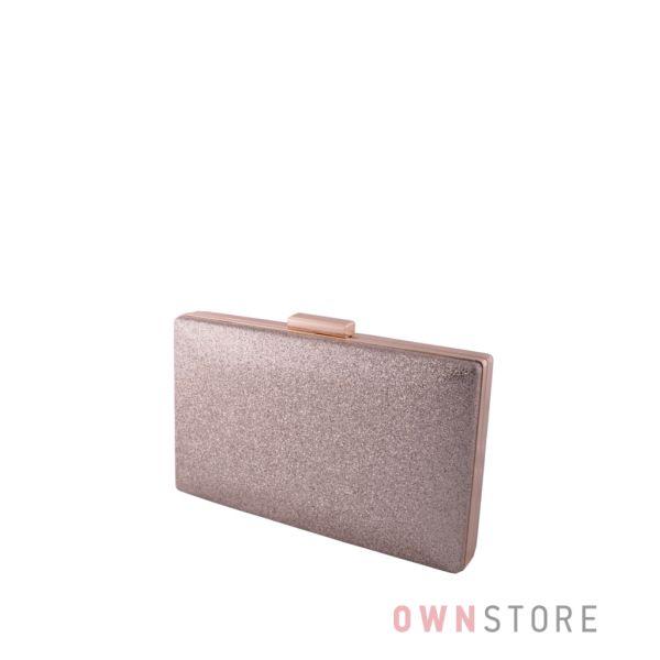 Купить онлайн  женский золотой клатч из  кожзама с блестками - арт.6914
