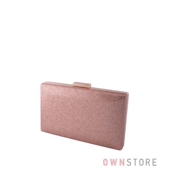 Купить онлайн клатч женский розовое золото из  кожзама с блестками  - арт.6914