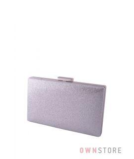 Купить онлайн клатч женский серебряный из кожзама с блестками - арт.6914