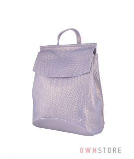 Купить онлайн серый кожаный женский рюкзак с имитацией плетенки - арт.1608-4