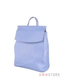 Голубой кожаный рюкзак с имитацией плетенки (арт.1608-4)