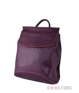 Купить онлайн женский бордовый кожаный рюкзак с имитацией плетенки - арт.1608-4