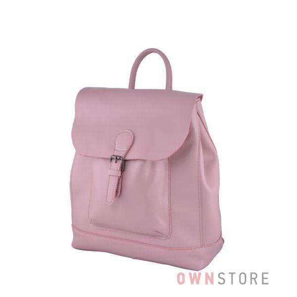 Купить кремовый кожаный женский рюкзак с карманом впереди от Фарфалла Россо - арт.2321