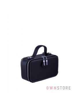Купить онлайн миниатюрную женскую черную сумочку с двумя молниями - арт.008