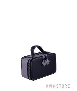 Купить онлайн миниатюрную  женскую черно-серую сумочку из кожи с двумя молниями  - арт.008